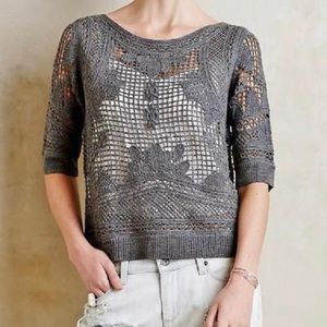 Anthropologie Knitted & Knotted crochet sweater, S
